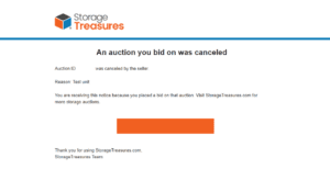 StorageTreasures canceled storage auction email