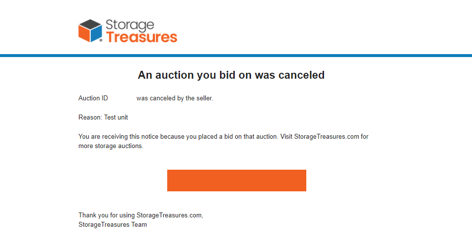 StorageTreasures canceled storage auction email